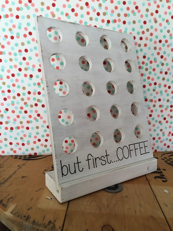 This fun, rustic k cup holder is a perfect solution for your coffee storage needs. It holds 20 pods and measures 12 wide, 16tall and the base is…