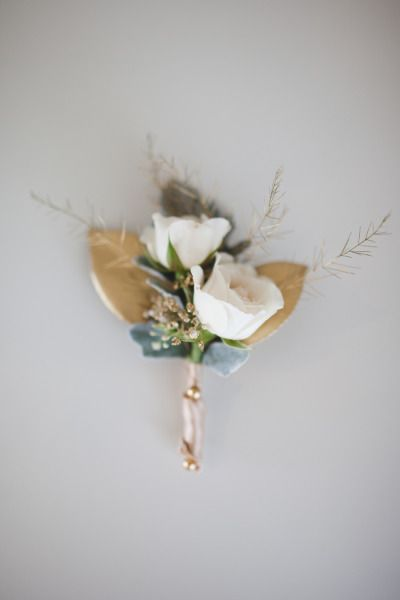 Rustic boutonniere with gold details: http://www.stylemepretty.com/washington-weddings/2014/09/05/gold-and-glitter-rustic-inspiration-shoot/ | Photography: Jon and Moch - http://www.jonandmochphotography.com/