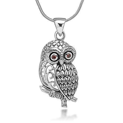 925 Oxidized Sterling Silver Filigree Red CZ Eye Detail Owl Tree Branch Pendant Necklace 18 inches * You can get more details by clicking on the image.Note:It is affiliate link to Amazon.