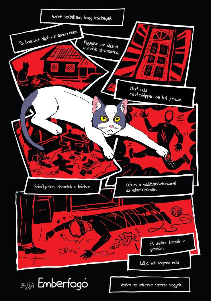 Emberfogó #képregény #comic #cat #macska #emberfogó #human-cat-cher : #graphicdesigneger #mediadesigneger #madeineger #mdteger #unieger #visualeger #madeinvmi #vizualismuveszetiintezet #eger #visualartsinstitute #hungary