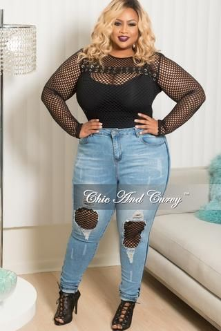 d2511b710a0 New Plus Size High Rise Fishnet Patched Skinny Jeans in Denim