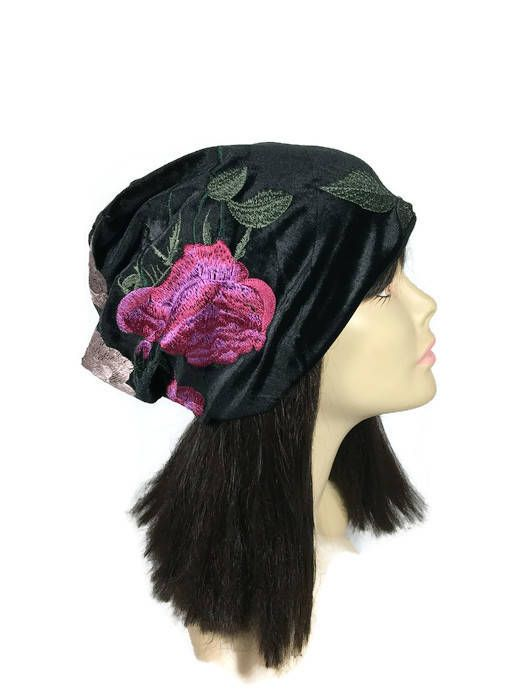 CUSTOM SIZES Black Velvet Embroidered Slouchy Hat Velvet Floral Hat Black  Velvet Slouchy Beanie Hats for Hair Loss Glam Velvet Chemo Caps by  LooptheLoop on ... 294d7b7615e7