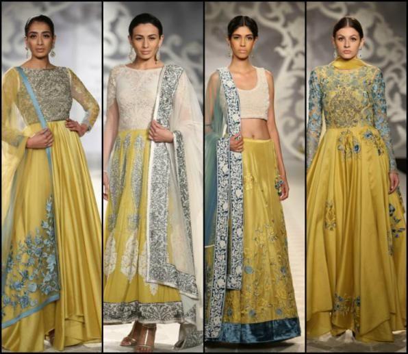 indian wedding clothes varun bahl 2014. Yellow Indian lehenga
