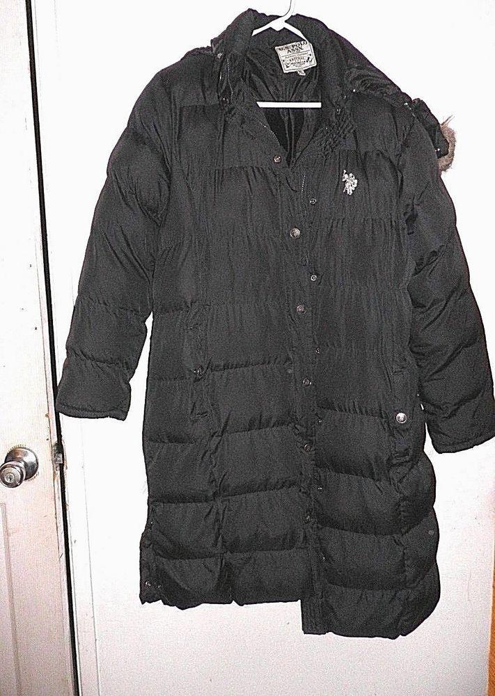 US Polo Assn Ladies Long Puffer Jacket w/ Detachable Hood