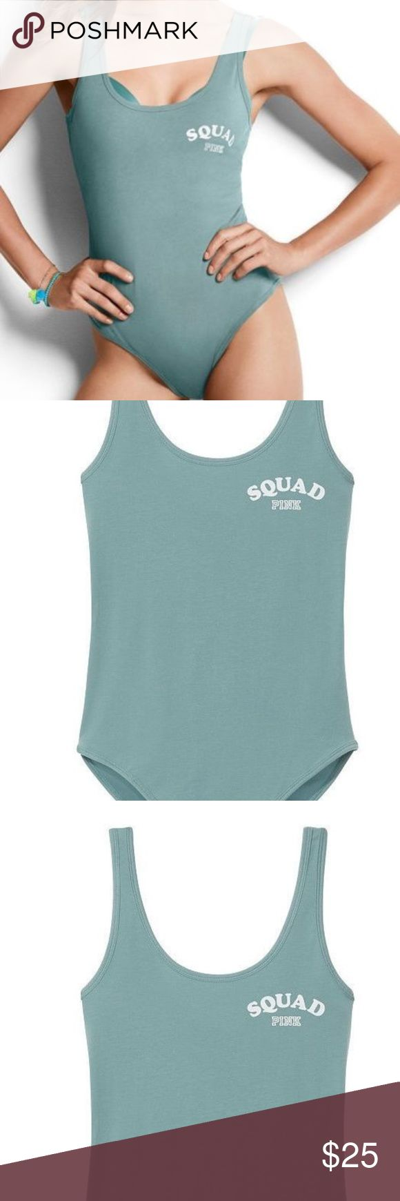 VS PINK Bodysuit One Piece Green L Squad Goal D11 Victoria's Secret                   d11 PINK   Bodysuit Snap Bottom Closure Stretch Fit made of cotton/spandex  Brand New Sealed in Plastic Graphic print on Front says SQUAD GOALS Size Large PINK Victoria's Secret Tops