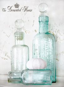 The Decorated House: ~ Vintage Blue Bottles - White Mantel