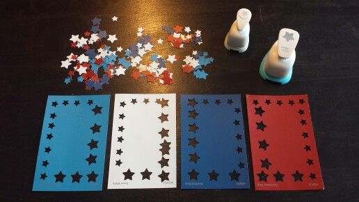 im working on a military scrapbook. Star punches out of paint chips (you can get them at Walmart, home Depot, Lowes, etc. for free). Star hole punches from Michaels.