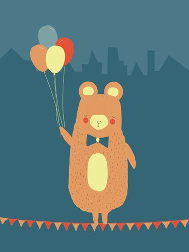 Muis print - Pimpelpluis - https://www.facebook.com/pages/Pimpelpluis/188675421305550?ref=hl - (nursery print illustration kids children art poster dieren kinderen cute illustratie hoed animal muis mouse ballon vlaggetjes)