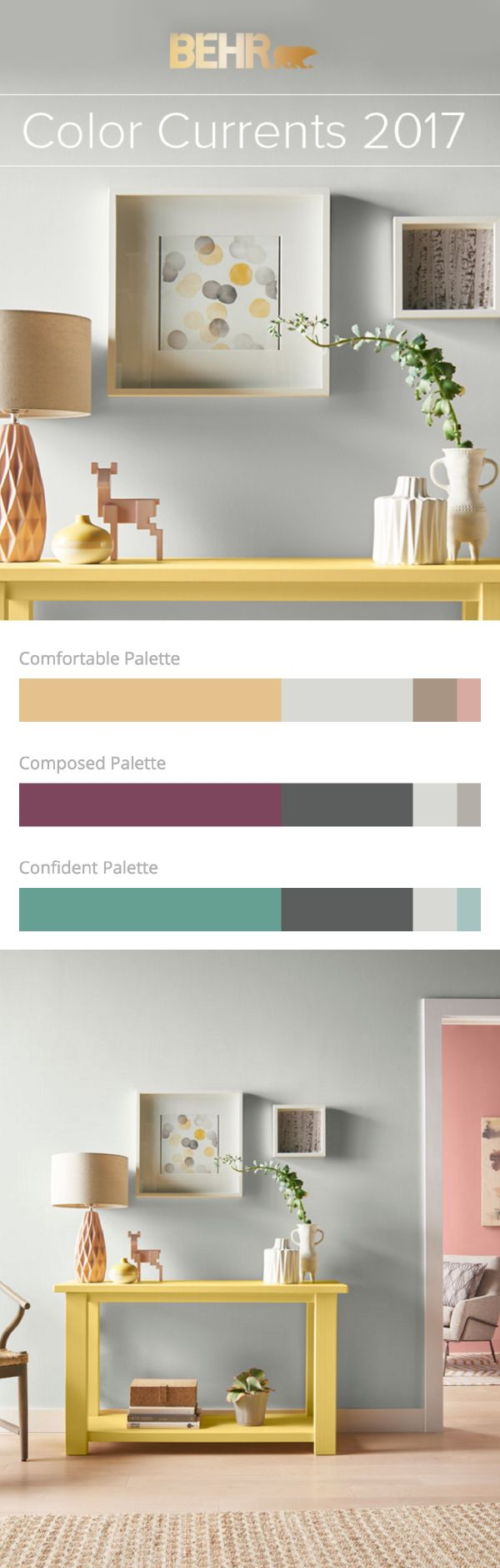 Comfortable, composed, or confident—which BEHR 2017 Color Currents palette will you choose? These livable, fashion-forward hues will really freshen up your space this season. Whether you lean towards soothing, bold, or cheerful hues, there is a paint color in this collection to match your home decor style.