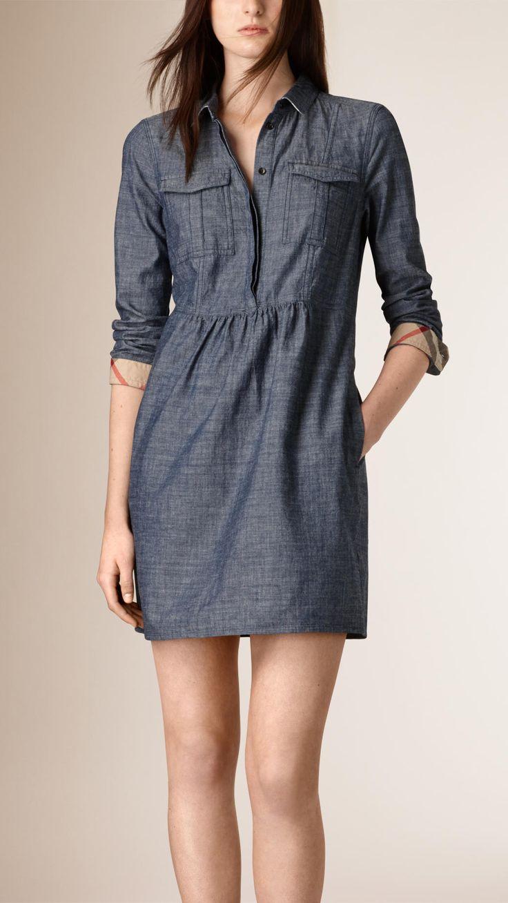 Gathered Detail Chambray Tunic Dress | Burberry
