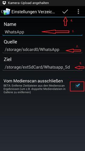 WhatsApp-Daten auf der SD-Karte speichern