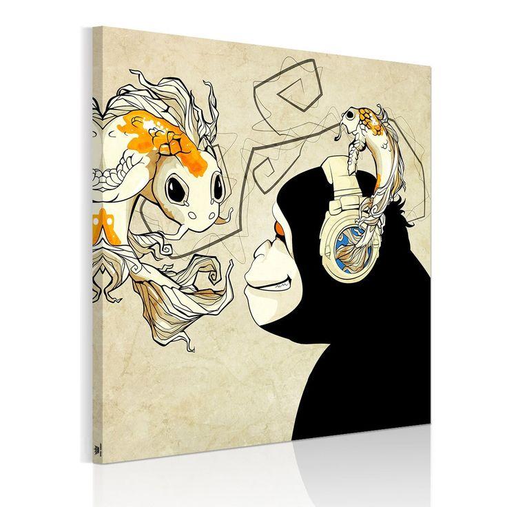 Amazon|アートパネル 壁飾り 絵画 玄関 チンパンジーと金魚猿の惑星 ニューヨーク スタイル インテリア 壁キャンバス絵画 木枠セット50*50cm|モダン・コンテンポラリー オンライン通販