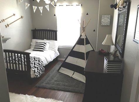 Gray Black White Gold Boy Room