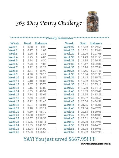 365 Penny Challenge - Weekly Calendar Tracker