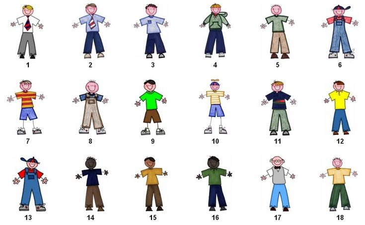 Free Stick People Clip Art The Clothing And Hair Color