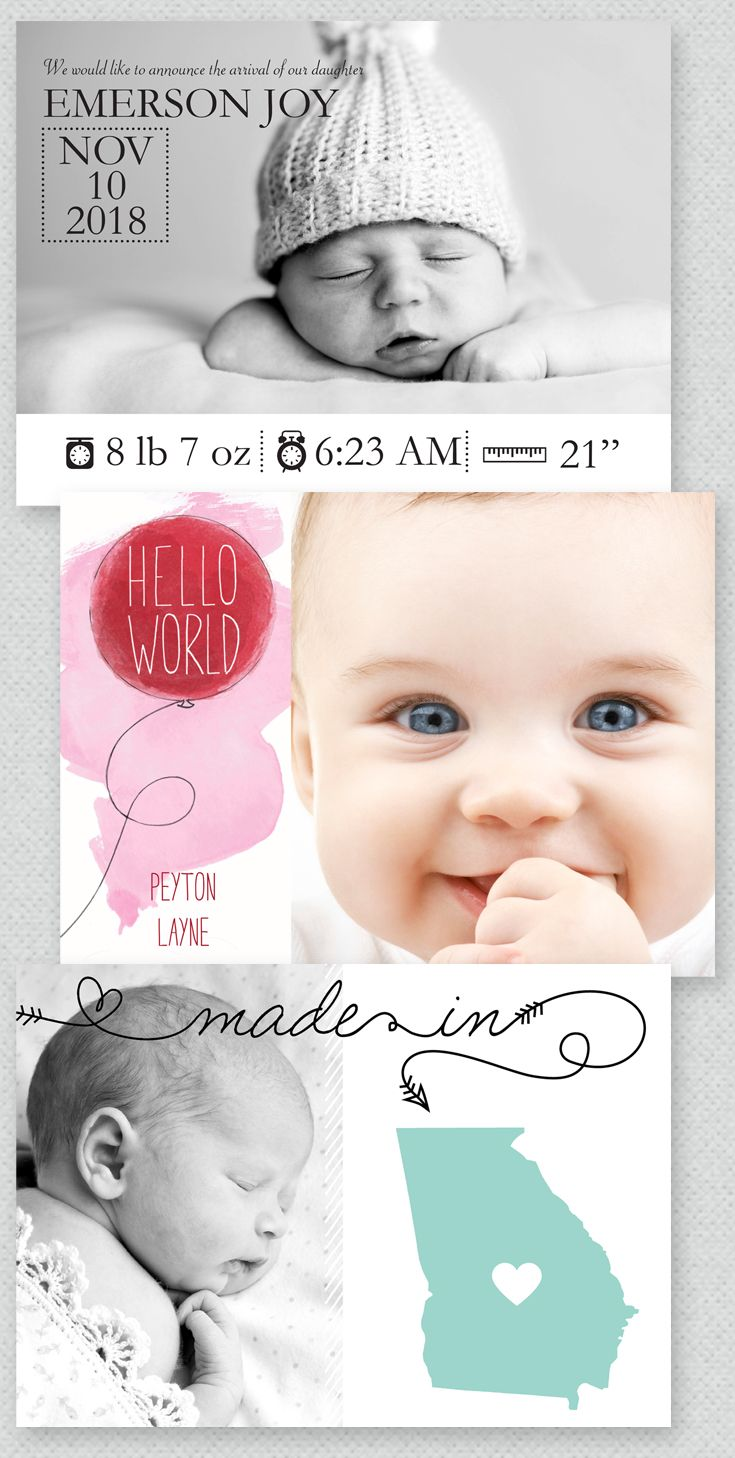 The sweetest birth announcements around. Fresh design, beautiful quality I From Invitations by Dawn.