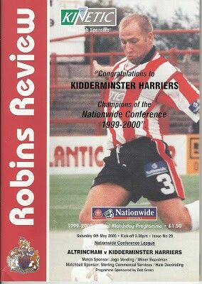 Altrincham 0 Kidderminster 0 in May 2000 at Moss Lane. The programme cover for the Conference game. The Harriers win the Conference and make the Football League.