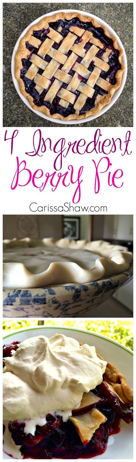 4 Ingredient Berry Pie | Perfect quick recipe for the 4th of July!