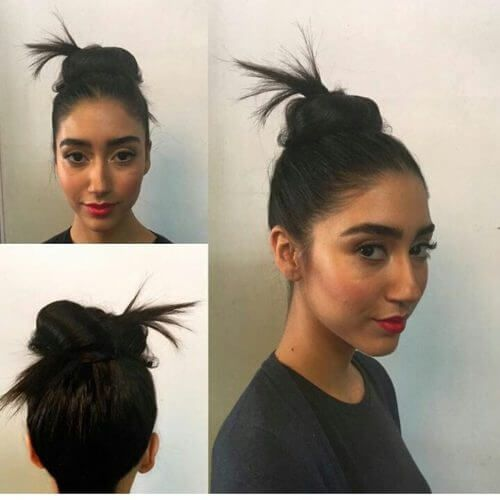 Straightforward Indian top knot hairstyle