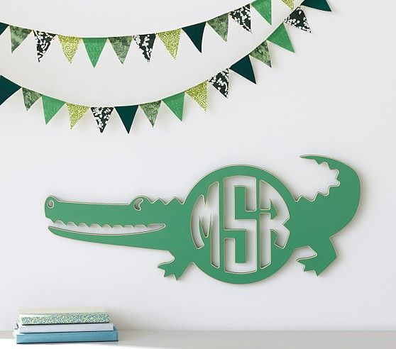 Alligator Monogram Cut Out Plaque   Pottery Barn Kids