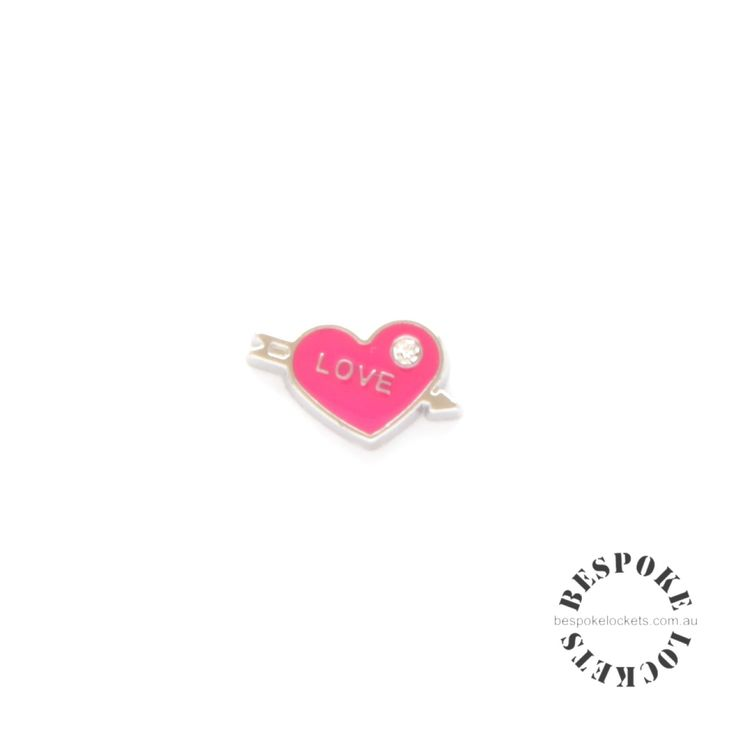 Pink Love Heart with Arrow - Floating Charm
