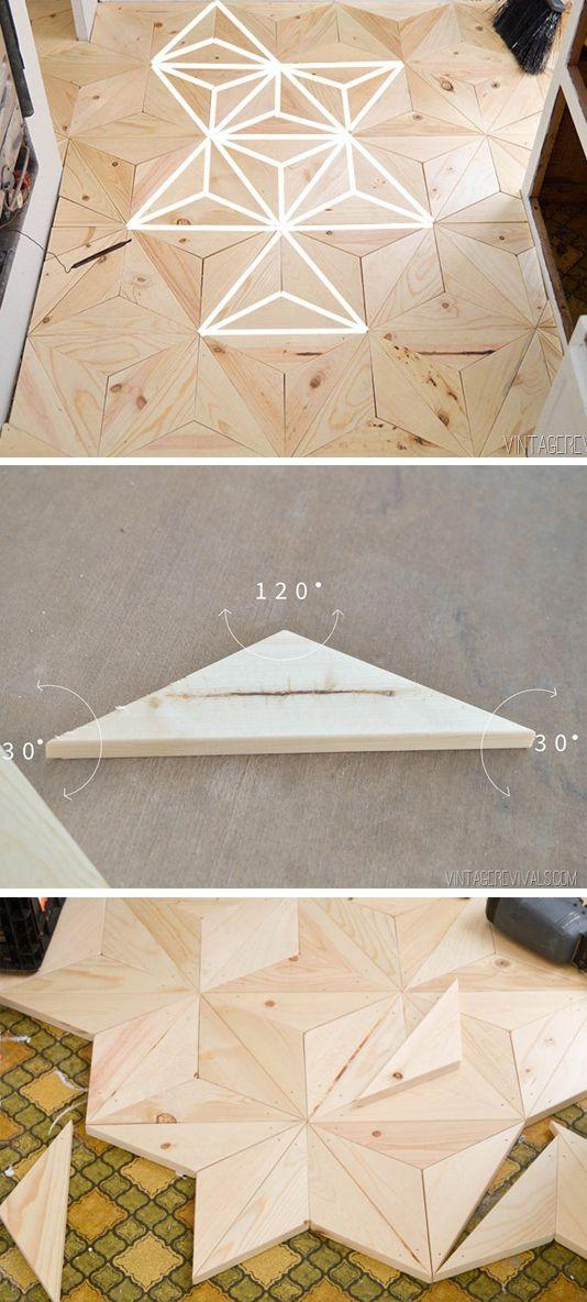 DIY Geometric Wood Floor | Vintage Revivals
