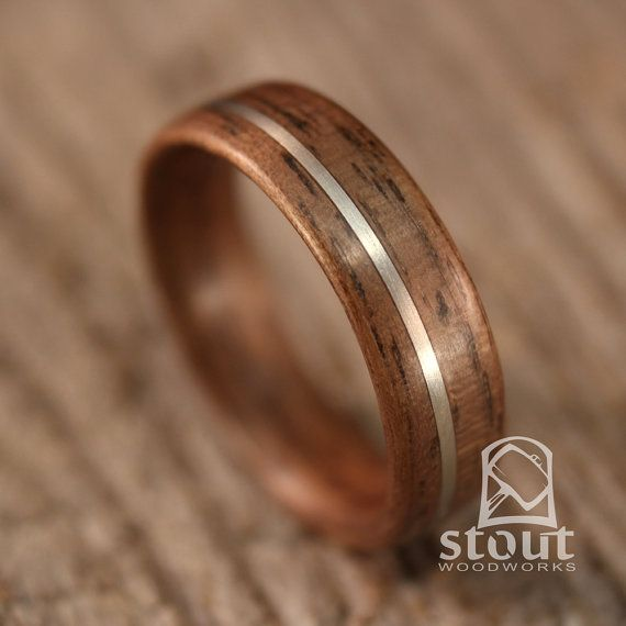 Walnut With Offset German Silver Inlay Bentwood Ring - Handcrafted Wooden Ring