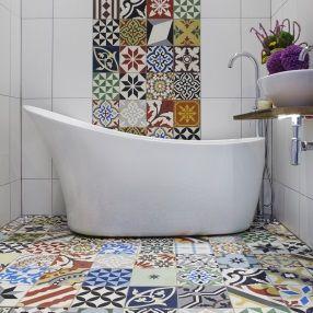 Patchwork Encaustic Tiles in Bathroom