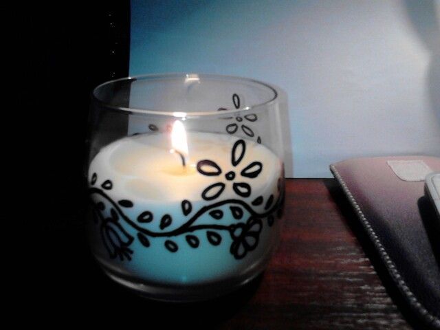 Candle in glass with hungarian art