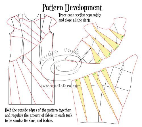 Once again our weekly #PatternPuzzle is focused on doing wicked things with darts! The design is a classic in many ways and uses a very flattering diagonal seam.  The drape is sent in opposite direc