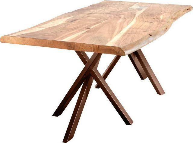 Esstisch Tables Mit Baumkante Und Extravagantem Gestell Aus