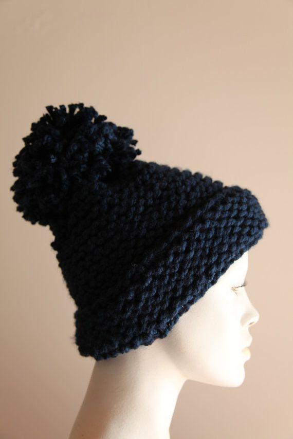 Pom pom knit handmade navy blue unique beautiful by AnnaOhSailors
