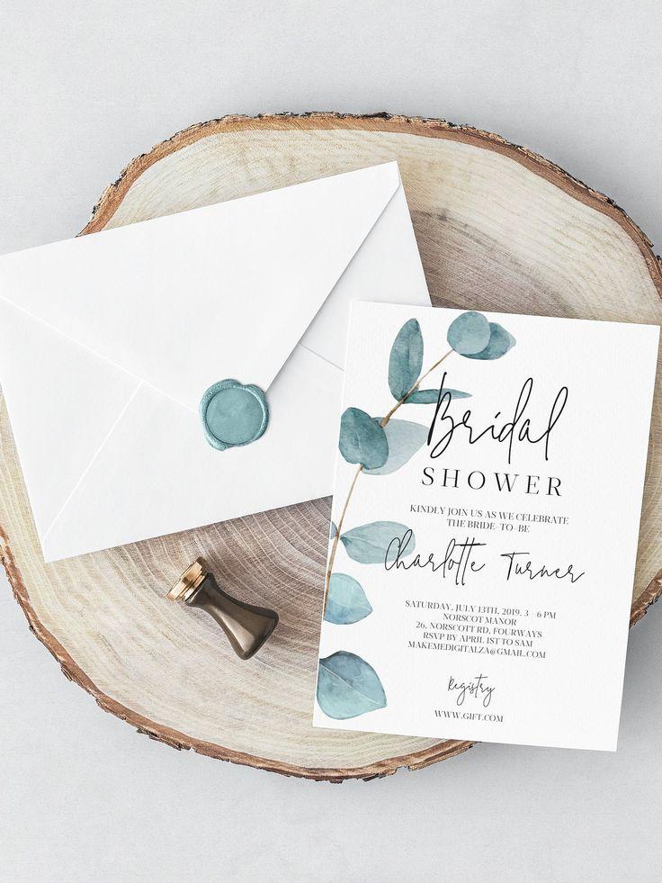 Greenery Bridal Shower Invitation Bachelorette invite Bridal Brunch bridal shower invite botanical bridal modern eucalyptus wedding 113