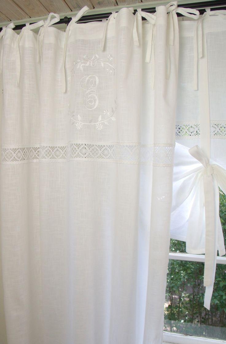 Vorhang EMILIA WEIß Gardine 140x300 cm 2 STÜCK | Vorhänge & Spitzen Gardinen | Gardinen | Zauberhafter Landhausstil