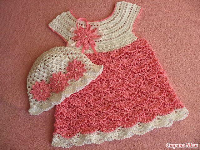 Схемы вязаных модных детских платьев крючком