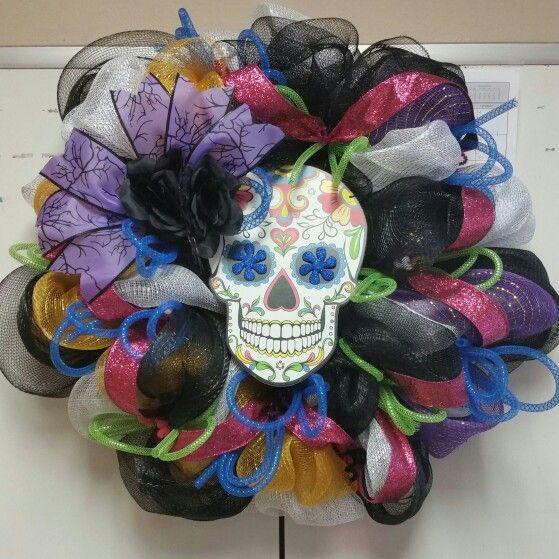 Sugar Skull Wreath! Custom made! | Talk about obsession ...