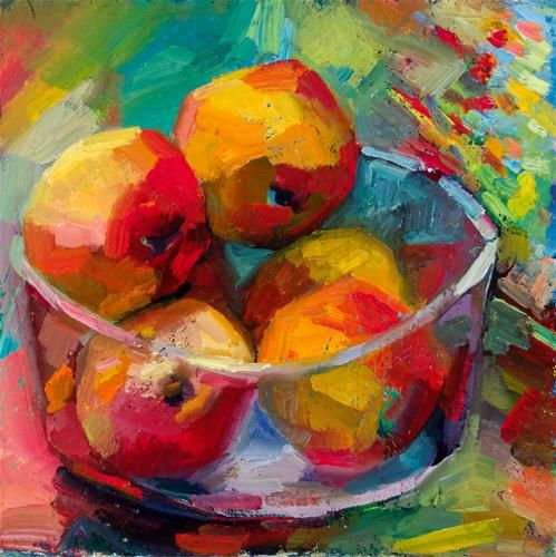 "Daily Paintworks - ""Bowl of apples against rowan-berries"" - Original Fine Art for Sale - © Lena Levin"
