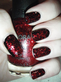Red Glitter on Black