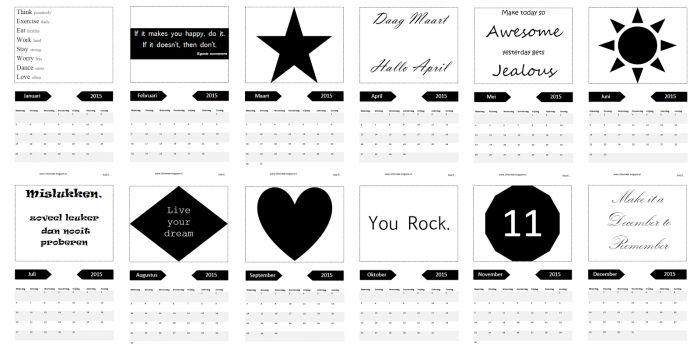Free Pintable Kalender 2015 #Gratis Kalender #2015
