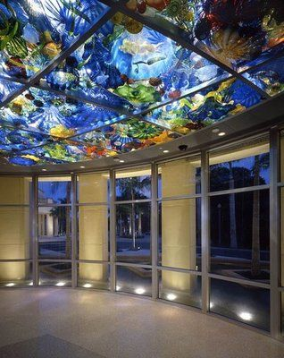 Dale Chihuly room at the Norton Museum, West Palm Beach, Fl.   Sea life in glass in the ceiling.