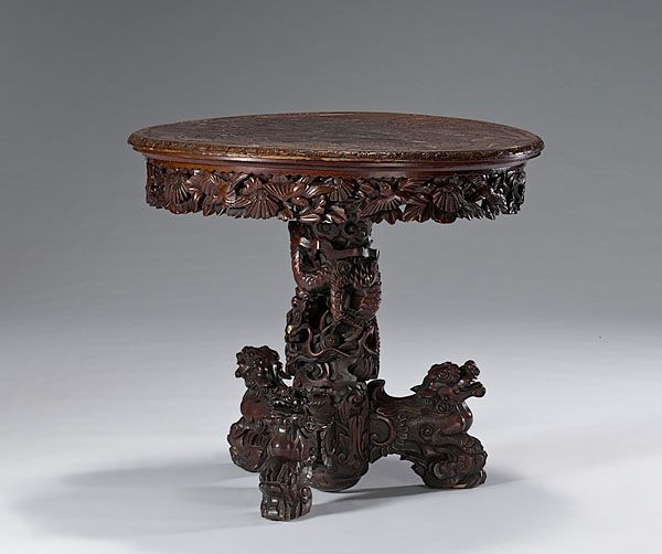 Chinese carved wood table center