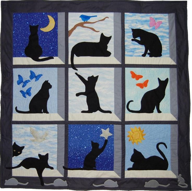 Looking Out Kitty Quilt Wallhanging Applique Patterns