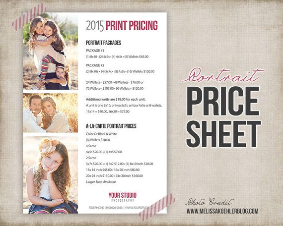 7 best Photography price list images on Pinterest Photography - Price Sheet Template