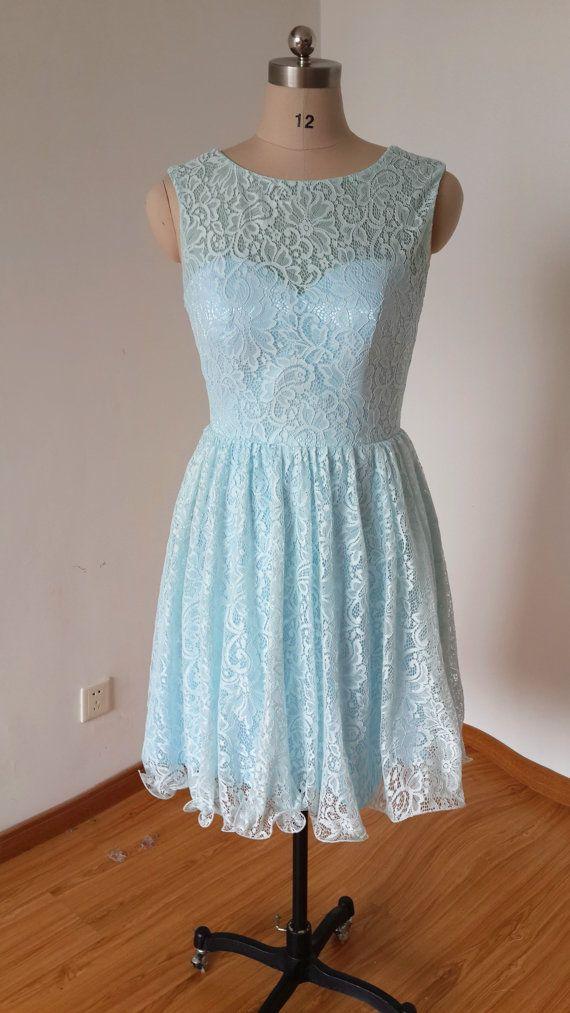 2015 V-back Light Sky Blue Lace Dress by DressCulture