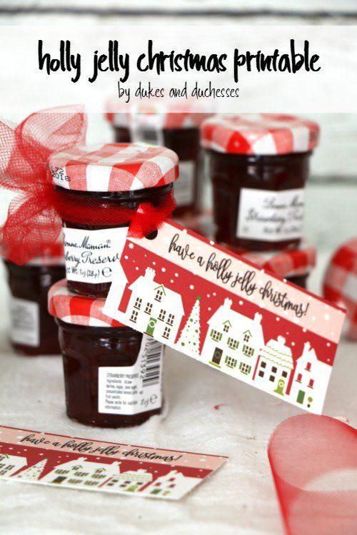 holly jelly christmas printable party favor or hostess gift idea
