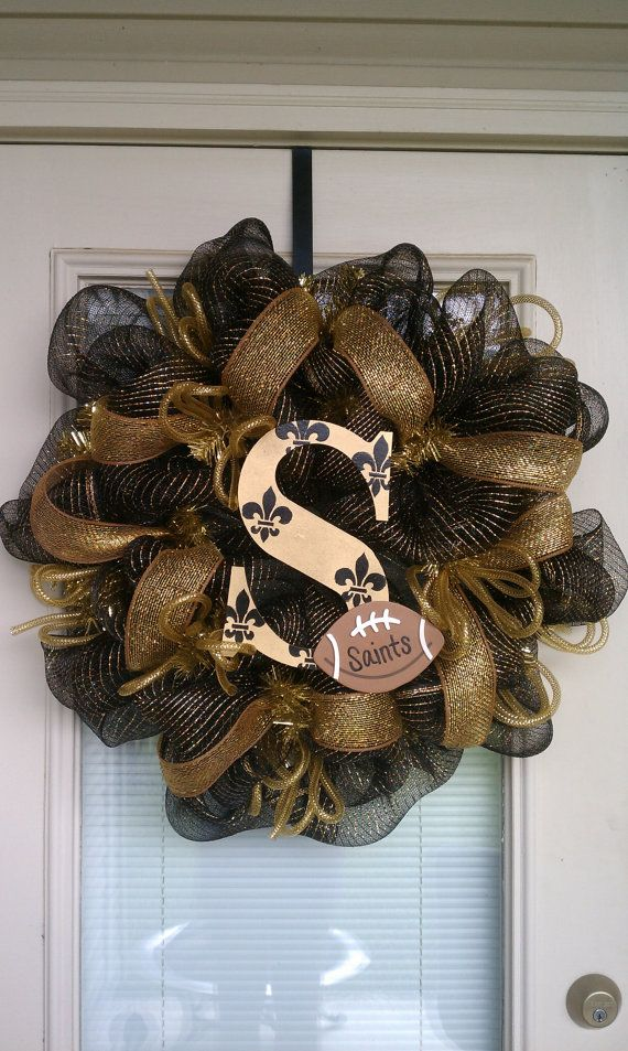 New Orleans Saints Wreath. $75.00, via Etsy. yes that is the real price @Misty Wyatt...perhaps i'll start crafting! lol