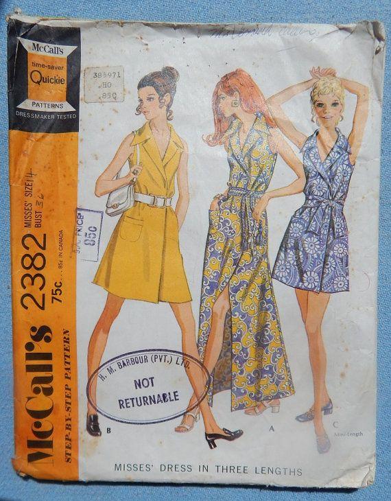 1970s Misses Front Wrap Dress McCalls 2382