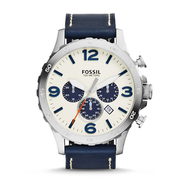 Nate Chronograph Navy Leather Watch