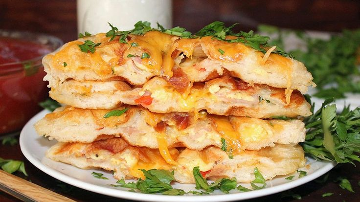 Try a savory spin on biscuit waffles--stuffed with all the fixings of a western omelet.