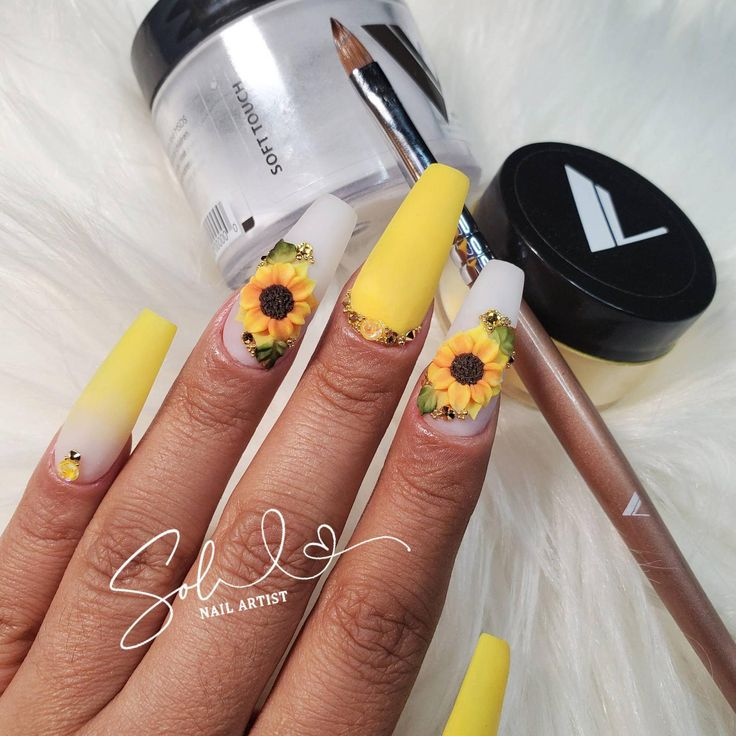 3D Nail Sunflowers | Etsy in 2020 | 3d nails, Sunflower ...